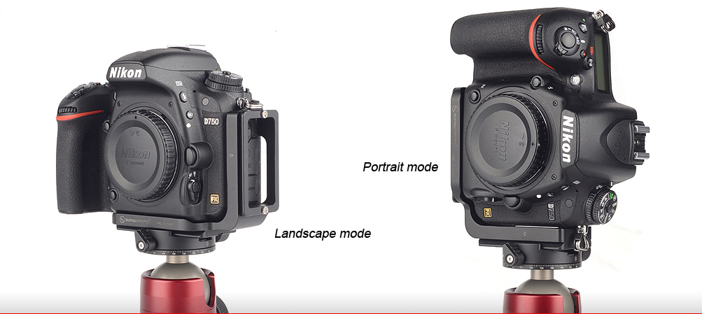 This image shows how to use an L-Bracket (L Bracket) on a Nikon camera